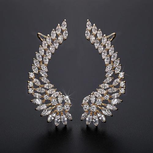 Brinco Ear Cuff Noiva Pedra Zirconia Dourado Festa Debutante