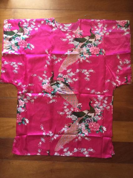 Vestido Oriental Japonês Quimono Seda Fênix Extra Grande