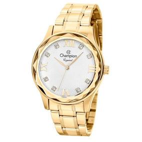 Kit Relógio Feminino Champion Analógico Cn27465w - Dourado