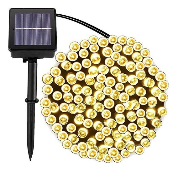 Serie Solar Led Cálida 100 Luces 12 Metros Sensor Oscuridad