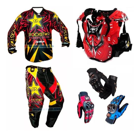 Equipo Motocross Pantalon Buzo Guantes Mas Armadura Codera +