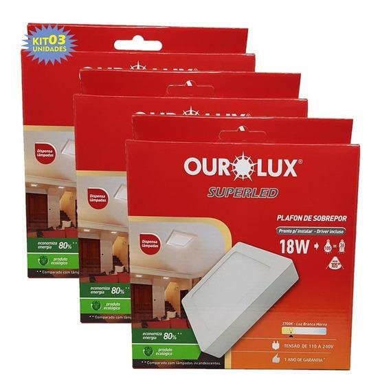 Kit 3 Painel Plafon Led Sobrepor 18w Quadrado Ourolux Super