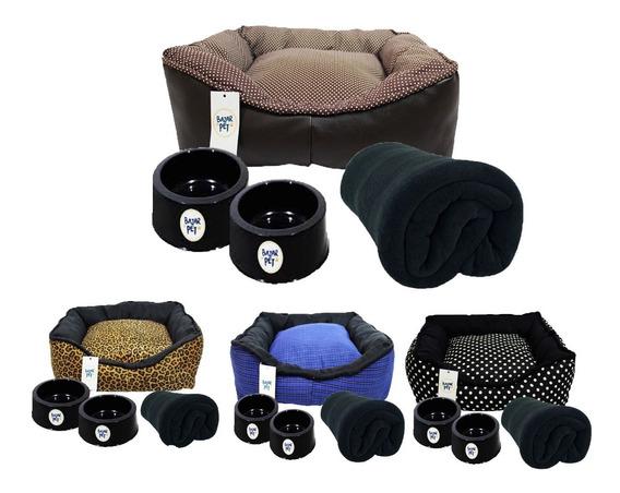 Cama Para Golden Retriever Labrador Kit Cobertor 2 Comedouro
