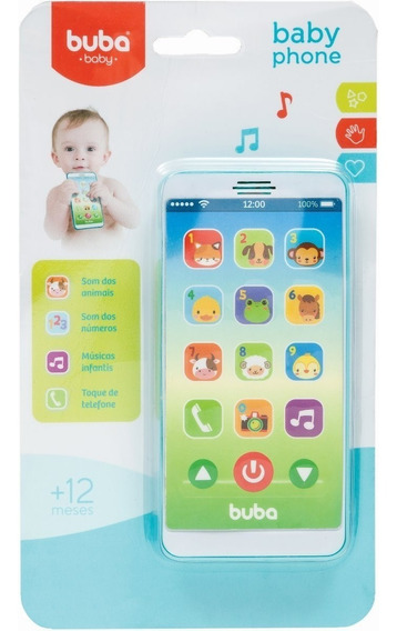 Telefone Bebê Celular Musical Azul Ou Rosa - Buba Baby