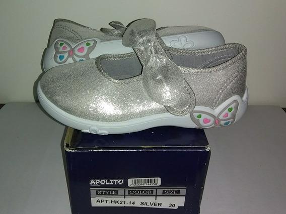 Zapatos Marca Apolitos Plateado Nuevos En Su Caja 30