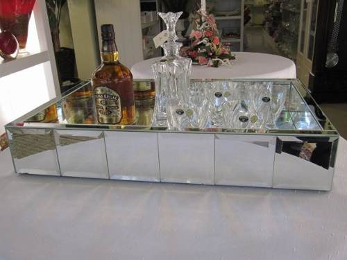 Bandeja Espelhada De Luxo Bizotada Grande Para Sala De Estar