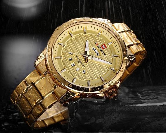 Relógio Masculino Esportivo Dourado Naviforce Nf9115