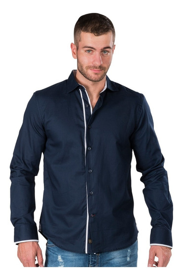 Camisa Hombre Casual Vestir Slim Fit Moda Formal Algodon