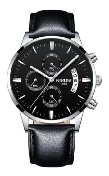 Relógio Nibosi Original Em Couro De Luxo Original