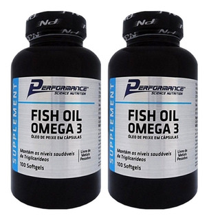 2x Fish Oil Omega3 1000mg 100cáp Performance-envio Em 24 Hrs
