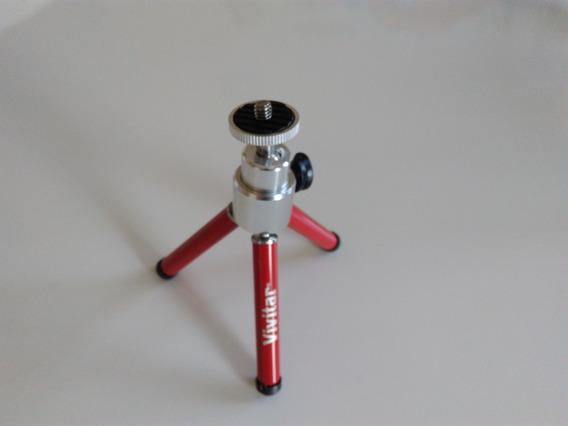 Tripé Camera 15cm Vermelho Com Rotação Vivitar