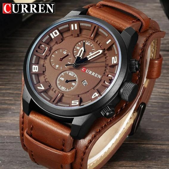 Relógio Curren Com Bracelete De Couro Pu Original