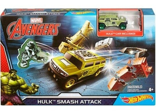 Juguete Pista Lanzadora Y Carro Hot Wheels Hulk Avengers