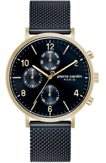 Reloj Pierre Cardin Hombre A.pc902641f09 Malla Negro Dorado