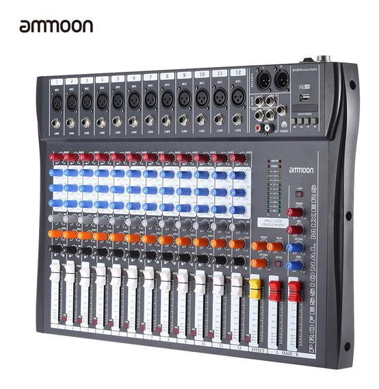 Mezclador Audio Línea De Mic 12 Canales Usb Ammoon 120s