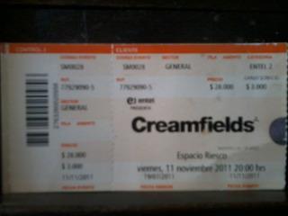 Entrada - Ticket Usado Creamfields