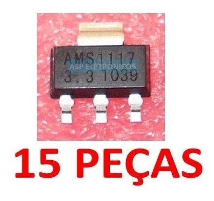 15 Peças Ci Ic Ams1117 3.3 1117 3,3v Regulador Smd