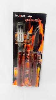 Set Parrillero De 3 Piezas -cuchillo-tenedor-pinza Importado