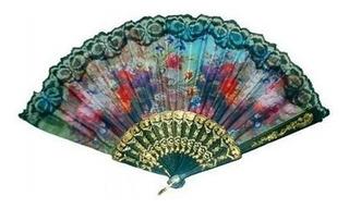 10 Leque Estampado Cigano Acessório Fantasia Carnaval