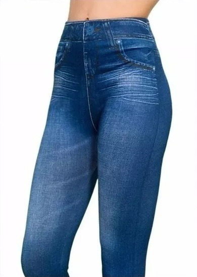 5pz Leggins Stretch Tipo Mezclilla Slimlift Caress Azul