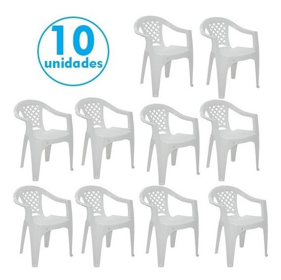 Conjunto 10 Cadeiras Plástico Com Braço Iguape Tramontina