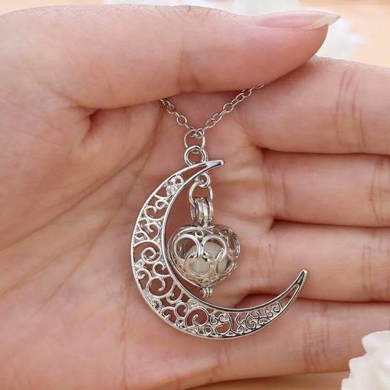 Colar Coração Lua Encantado Brilha No Escuro Feminino