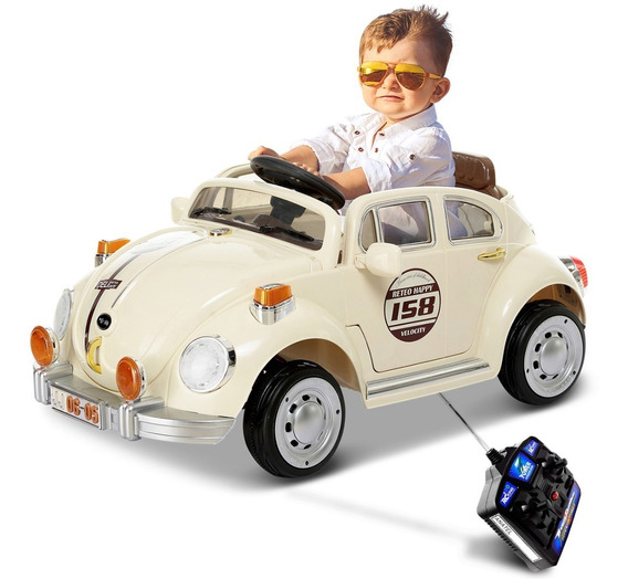 Carro Elétrico Infantil Fusca Bege Com Sons E Buzina 6v