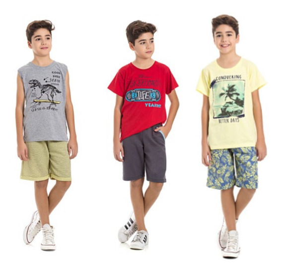 Kit Roupa Juvenil Menino 3 Conjuntos Atacado 10 A 16 Anos
