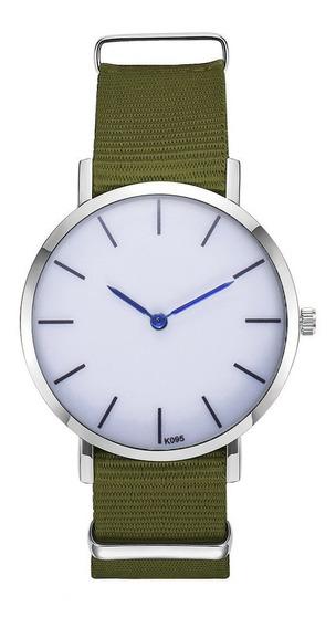 K095-ye Mulheres Relógios De Pulso Rodada Dial Nylon Banda D