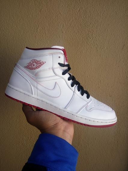 Air Jordan Retro 1 Mid White Gym Red Originales # 28 Mex