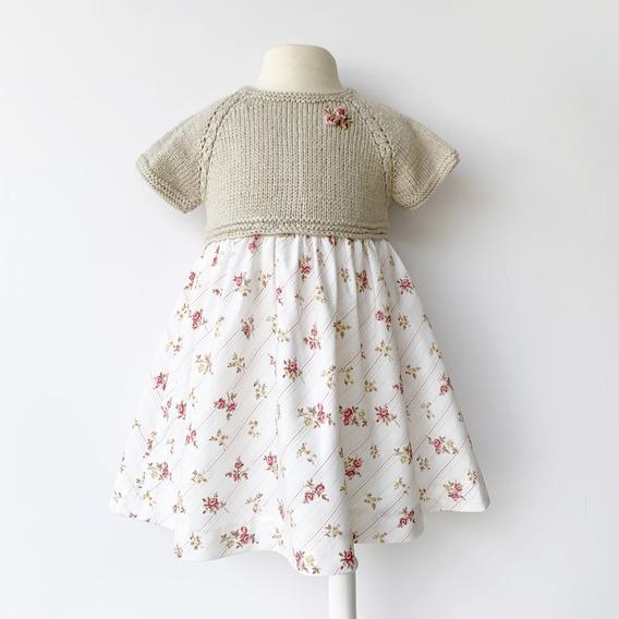 Vestido Bebé Niña Beige Claro Flores Rosas Tejido A Mano