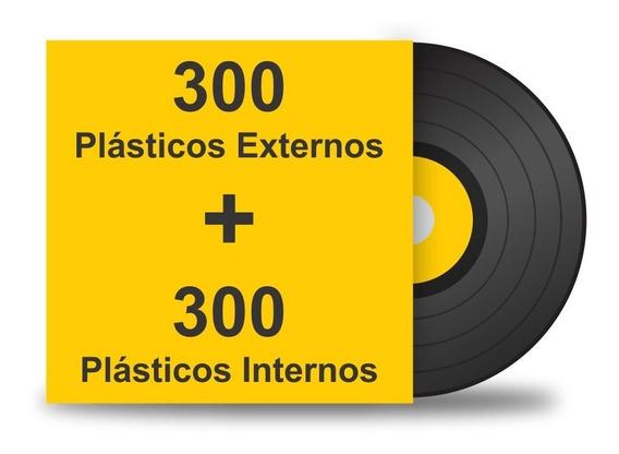 600 Plásticos Interno Externo. Proteção Para Lp Disco Vinil