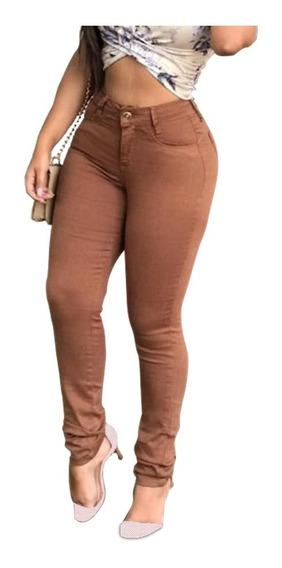 Kit 3 Calças Jeans Feminina Colorida Cintura Alta Hot Pants