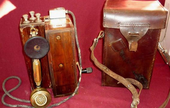 Antiguo Telefono De Campaña Militar Con Estuche