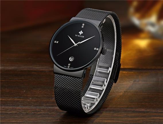 Relógio Masculino Fino Preto Pulseira Aço Quartz Luxuosso