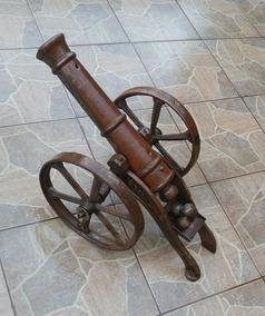 Canhão Ferro Fundido Decoração Antiguidades Guerra Ornamento