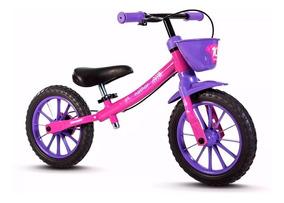 Bicicleta Sem Pedal Nathor Rosa/verde Menina Menino Balance