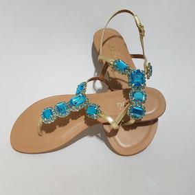 Sandália Rasteira Com Pedraria Azul Maravilhosa Indaiá