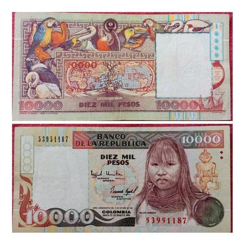 Imagen 1 de 1 de Billete De 10.000 Pesos, Embera, 1993.