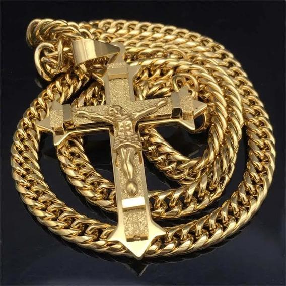 Cordão Grosso Com Crucifixo Ostentação Banhado Ouro 18k