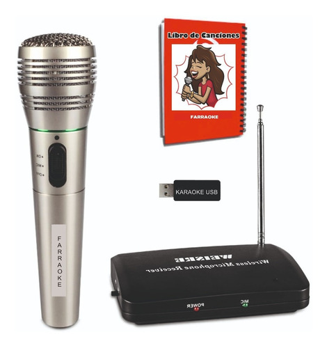 Karaoke Usb 8.100 Temas + Micrófono Inalámbrico Y Libro.