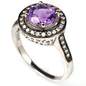 Anel Prata 925 Pedra Natural Ametista Purpura E Zirc Aro 20