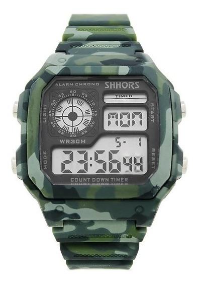 Reloj Para Hombre Militar Camuflaje Deportivo Cronometro Alarma Luz Led Fecha Reloj De Pulsera Camuflaje - Verde