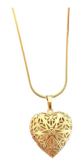 Colar Corrente E Pingente Coração Relicário Folheado A Ouro