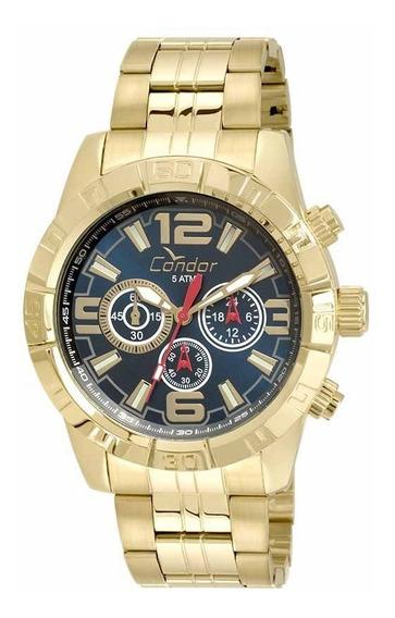 Relógio Condor Masculino Dourado Cronógrafo Covd54ar/4a