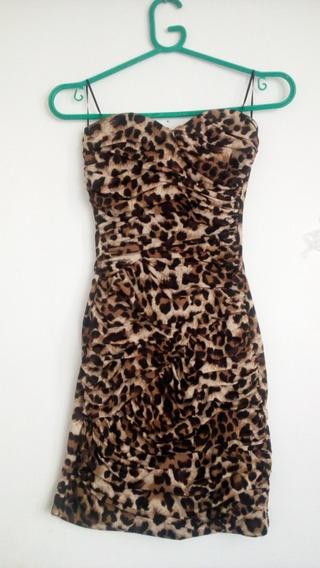 Vestido Strapless Animal Print