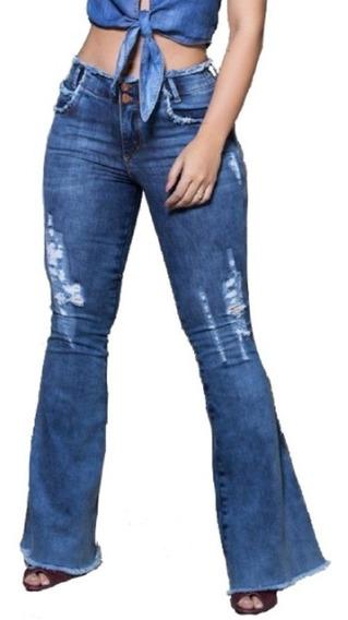 Calça Verbo Jeans Flare Desfiada Azul Claro