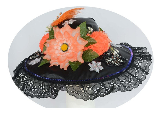 Sombrero Catrina C Dia Muertos Halloween Disfraz Negro