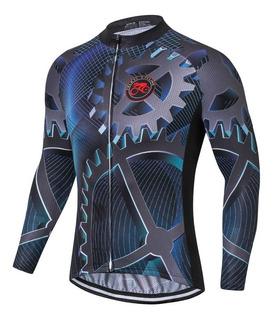 Camisa Uniforme De Ciclismo Azul 3d Manga Longa Proteção Uv