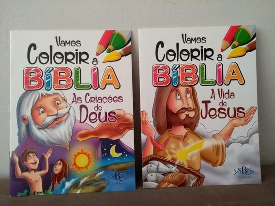Kit 2 Livros Infantis - Vamos Colorir A Bíblia